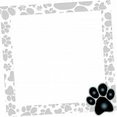 stock photo of paw-print  - computer generated dog frame isolated on white background - JPG