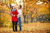 Girlfriend with boyfriend embraced walking in park in autumn  poster