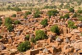 stock photo of dogon  - A panorama of Dogon tribe village Songo in Mali - JPG