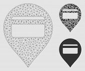 Mesh Credit Card Pointer Model With Triangle Mosaic Icon. Wire Frame Polygonal Mesh Of Credit Card P poster