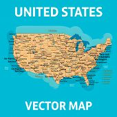 Vector Map Of United States Of America With States, Cities, Rivers, Lakes And Highways On Separate L poster