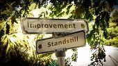 Street Sign The Direction Way To Improvement Versus Standstill poster