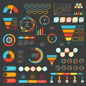 Infographics Set. Funnel, Chart, Graph, Arrows, Diagram, Gauge, Speedometer. Infographic With 3 And  poster