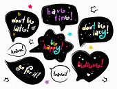 Funny Black Speech Bubbles With Color Lettering Phrases. Stylized Slogan. Motivation Quotes And Phra poster