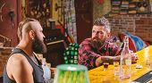 Hipster Bearded Man Spend Leisure With Friend At Bar Counter. Men Relaxing At Bar. Strong Alcohol Dr poster