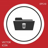 Grey Delete Folder Icon Isolated On Red Background. Folder With Recycle Bin. Delete Or Error Folder. poster