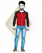 Handsome Brunet Young Man Standing. Vector Illustration Of Man With Beard And Whiskers Wearing Styli poster