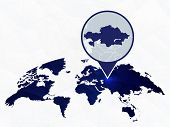 Kazakhstan Detailed Map Highlighted On Blue Rounded World Map. Map Of Kazakhstan In Circle. poster
