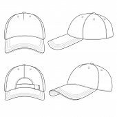 Set Of Black And White Illustrations With A Baseball Cap. Isolated Vector Objects On White Backgroun poster