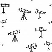 Telescope Icon Seamless Pattern . Spyglass Discover Tool. Astronomy Science Magnify Instrument. Lear poster