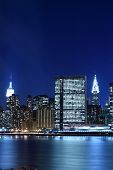 stock photo of new york skyline  - New York City skyline at Night Lights - JPG