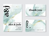 Set Of Wedding Ink Liquid Card With Typography. Wedding Invitation Concept. Tender Mint Gold Poster, poster
