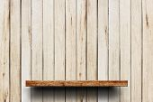 Wood Shelves Empty On A Background Of Wooden Wall. Empty Top Wooden Shelves On Wooden Wall Backgroun poster