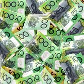 Background of Australian one hundred dollar bills.