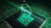 Futuristic Concept Of Privacy In Cyberspace, Personal Data Protection, Password Safety, Private Key, poster