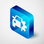 Isometric Car Service Icon Isolated On White Background. Auto Mechanic Service. Mechanic Service. Re poster