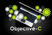 Objective-c Programming Language. Laptop On Word Objective-c. poster
