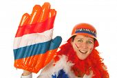 Dutch woman dressed in orange as a soccer fan