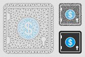 Mesh Dollar Banking Safe Model With Triangle Mosaic Icon. Wire Carcass Polygonal Mesh Of Dollar Bank poster