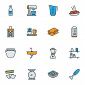 Gastronomy Icons Colored Line Set With Kitchen Shelves, Kitchen Plant, Lunchbox And Other Kitchen Ju poster
