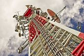 stock photo of relay  - A communications tower for tv and mobile phone signals - JPG