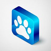 Isometric Paw Print Icon Isolated On White Background. Dog Or Cat Paw Print. Animal Track. Blue Squa poster