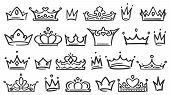 Hand Drawn Crown. Luxury Crowns Sketch, Queen Or King Coronation Doodle And Majestic Princess Tiara  poster