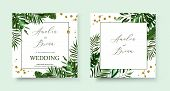 Wedding Tropic Exotic Summer Golden Frame Invitation Card Save The Date With Greenery Fan Palm Leaf  poster