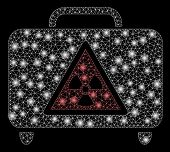 Bright Mesh Dangerous Luggage With Glare Effect. Abstract Illuminated Model Of Dangerous Luggage Ico poster