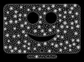 Bright Mesh Display Happy Smiley With Glare Effect. Abstract Illuminated Model Of Display Happy Smil poster