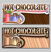 Vector Layouts For Hot Chocolate With Copy Space, Card With 2 Metal Cups Of Warm Christmas Dessert,  poster