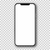 Mobile Phone White Mockup .  Cell Phone Blank Template. poster