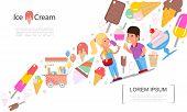 Flat Ice Cream Summer Template With Popsicles Sundae Fruit Chocolate Ice Cream Scoops Icecream Cart  poster