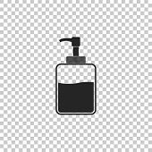 Hand Sanitizer Bottle Icon Isolated On Transparent Background. Disinfection Concept. Washing Gel. Al poster