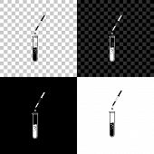 Laboratory Pipette With Liquid And Falling Droplet Over Glass Test Tube Icon Isolated On Black, Whit poster