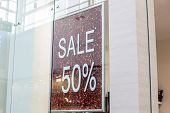 A 50 Percents, Percentage Off Sign At A Clothes Retail Store.sale Discount, Promotion Sale Poster, B poster