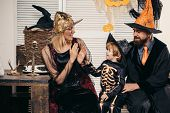 Holiday Halloween With Funny Carnival Costumes On A Halloween Background. Best Ideas For Halloween.  poster