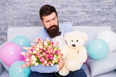 How Successfully Ask Her Dating. Romantic Gift. Macho Ready Romantic Date. Man Wear Blue Tuxedo Bow  poster