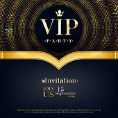 Vip Party Premium Invitation Card Poster Flyer. Black And Golden Design Template. Golden Glitter Bur poster