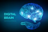 Brain. Digital Brain In Hand. 3d Science And Technology Concept. Neural Network. Iq Testing, Artific poster