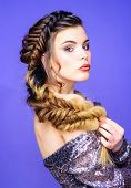 Braided Hairstyle. Beautiful Young Woman With Modern Hairstyle. Beauty Salon Hairdresser Art. Girl M poster
