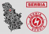 Composition Of Mosaic Power Supply Serbia Map And Grunge Stamp Seals. Mosaic Vector Serbia Map Is De poster