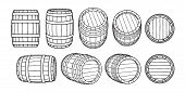 Set Of Wooden Barrels In Different Positions. Front And Side View, Black At Different Angles Vector  poster