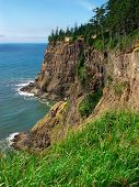 stock photo of mear  - Rugged coastline Cape Meares Scenic Viewpoint Oregon - JPG