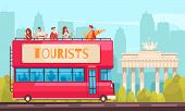 Guide Excursion Tourist Composition With Sightseeing Bus And People In Outdoor City Scenery With Cit poster