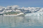 picture of cruise ship  - Cruse ship on Hubbard Glacier bay most visited areas in Alaska during the summer - JPG
