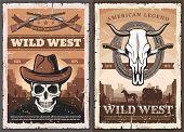 Wild West American Western Vintage Grunge Poster. Vector Skeleton Skull In Cowboy Hat, Bandit Shotgu poster
