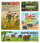 Wild Animals Hunting And African Safari Hunt, Hunter Ammo Equipment. Vector Hunter In Camouflage Wit poster