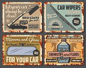 Car Accessories, Vehicle Spare Parts And Auto Fluids Shop Rusty Vintage Posters. Vector Windshield W poster