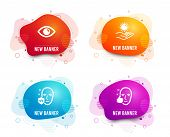 Liquid Badges. Set Of Eye, Uv Protection And Sun Protection Icons. Healthy Face Sign. View Or Vision poster